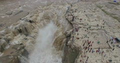 Aerial view of Hukou Waterfall or the Yellow River Shanxi China Stock Footage