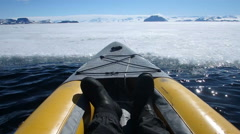 Kayaking along fast ice, Antarctica Stock Footage