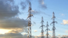 Power Poles on The Background of Clouds. - stock footage