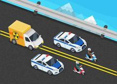 Police Motorcade Car Important Toxic Load - stock illustration