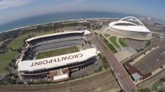 Aerial footage of both Growth point and Moses Mabhida Stadium Stock Footage