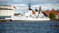 Danish Battleship sitting in Port   - Copenhagen Denmark - stock footage