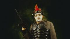 Apocalpytic man madmax warrior Stock Footage