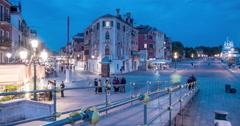 Night Time Lapse of Via Giuseppe Garibaldi in Venice Stock Footage