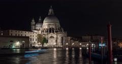 Night Time Lapse of Basilica di Santa Maria della Salute Stock Footage
