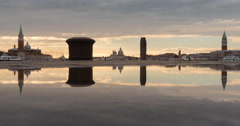 Time Lapse of Laguna Veneta seen at dusk in Venice Stock Footage