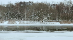 Riverside in the winter. Smooth slider shot. Stock Footage