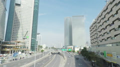 TEL-AVIV, ISRAEL  Traffic on Menachem Begin street Stock Footage
