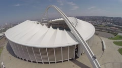 Aerial footage of sky cart moving at Moses Mabhida Stadium Stock Footage