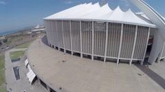 The side of Moses mabhida Stadium KZN Stock Footage