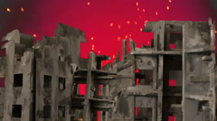 Burning ruins burn apocalypse ruin damaged war zone Stock Footage