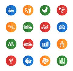 Agricultural icons set Stock Illustration