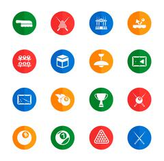 Billiards simply icons - stock illustration