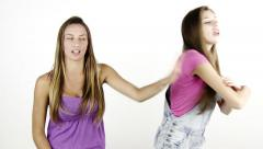 Two blond teenager fighting strong isolated Stock Footage