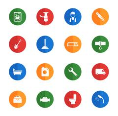 Plumbing service simply icons - stock illustration