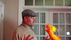 man talking with puppet 1 kids show 2 - stock footage