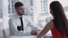 Man produces ring and asks woman to marry him - she accepts,  Marriage Proposal Stock Footage