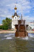 Chapel of St. Catherine and the Fountain Stone Flower  in Yekaterinburg Stock Photos