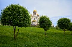 View of the Church on Blood in Honour of All Saints Resplendent in the Russia - stock photo