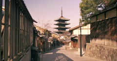Wide sliding shot of Temple in Kyoto City - stock footage