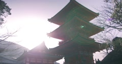 Cool sunlight on Orange temple in Kyoto - stock footage