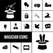 Magician icons black set - stock illustration