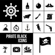 Pirate icons black set Piirros