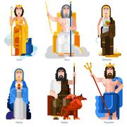Olympic Gods Decorative Icons Set Stock Illustration
