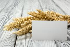 Wheat Ears on Wooden Table with blank business cards. Harvest concept Kuvituskuvat