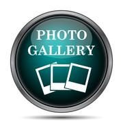 Photo gallery icon. Internet button on white background.. - stock illustration