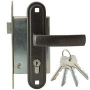 Door lock with handle and keys Stock Photos