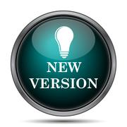 New version icon. Internet button on white background.. - stock illustration