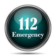 112 Emergency icon. Internet button on white background.. - stock illustration
