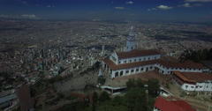 Flying over the church on Monserrate Stock Footage