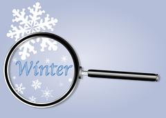 Winter Under The Magnifying Glass Stock Illustration