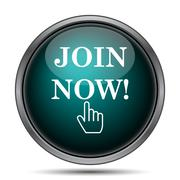 Join now icon. Internet button on white background.. - stock illustration