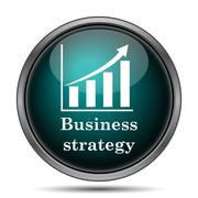 Business strategy icon. Internet button on white background.. Piirros
