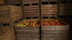 Big box of apples Stock Footage