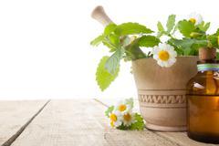 Fresh herb on wooden table. Alternative medicine concept - stock photo