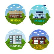 City buildings vector icon set in flat style. Design elements and emblems. Stock Illustration
