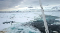 Ships wake in pack ice field Stock Footage