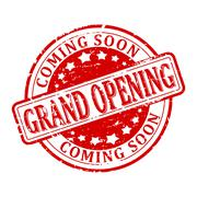 Scratched round red stamp with the words - grand opening  - coming soon - vec - stock illustration