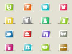 Baby clothes simply icons - stock illustration
