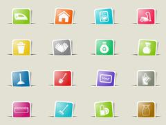 Cleaning service simply icons Stock Illustration