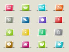 Grocery simply icons Stock Illustration