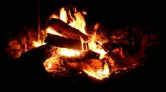 Night campfire with available space at left side. Stock Footage