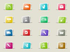 Plumbing service simply icons Stock Illustration