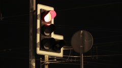 Traffic light switch colors. Red, yellow, green. Night city. Nobody. Close up Stock Footage