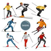 Vector set of skiers. People skiing design elements isolated on white - stock illustration