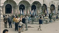 Postumia, Yugoslavia 1967: people in front of the caves entrance - stock footage